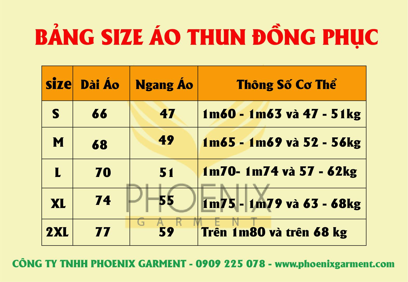 bang-size áo thun phoenix