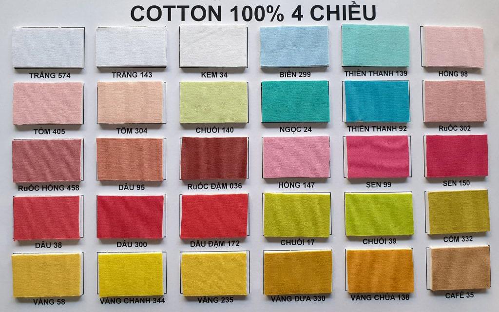 bảng vải màu thun may áo thun đồng phục